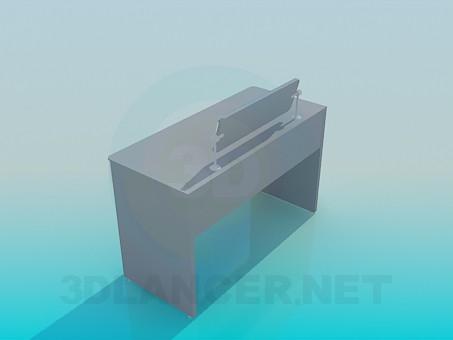 3d модель Письмовий стіл з підставкою – превью