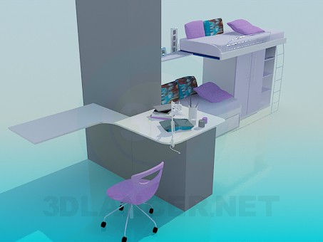3d model set of furniture - preview
