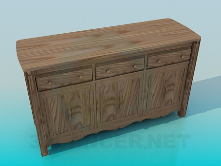 3d model Wide bedside table - preview