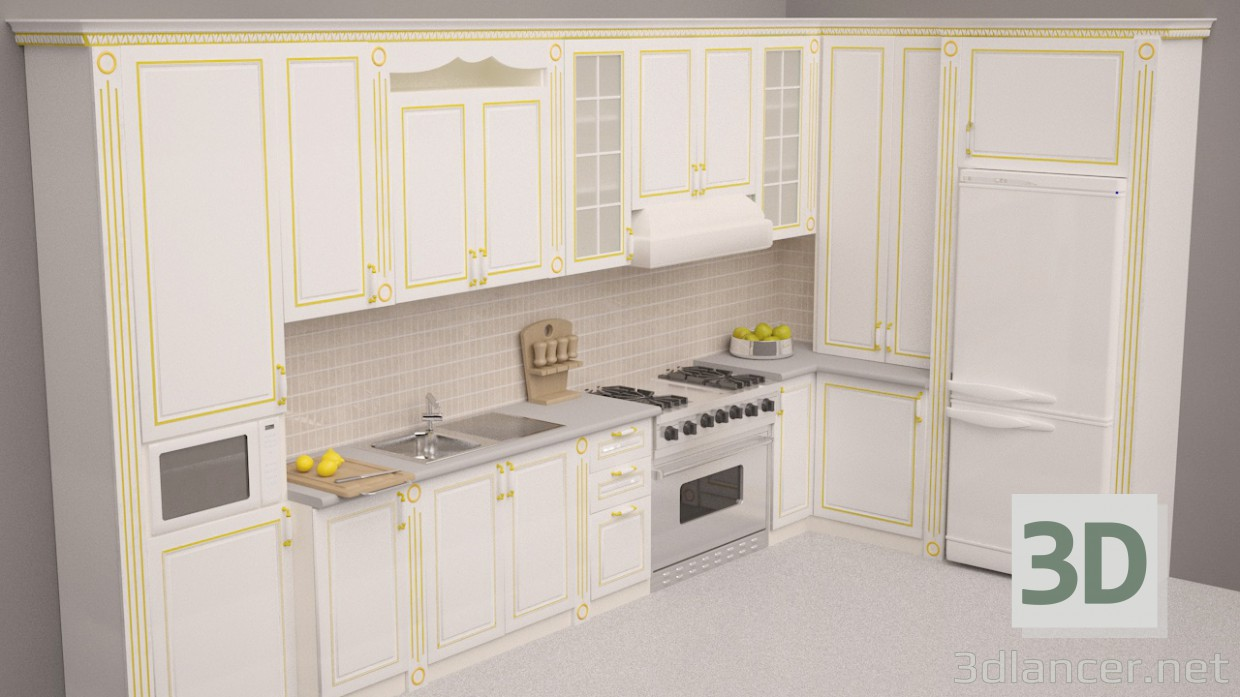 3d modeling Corner Kitchen model free download