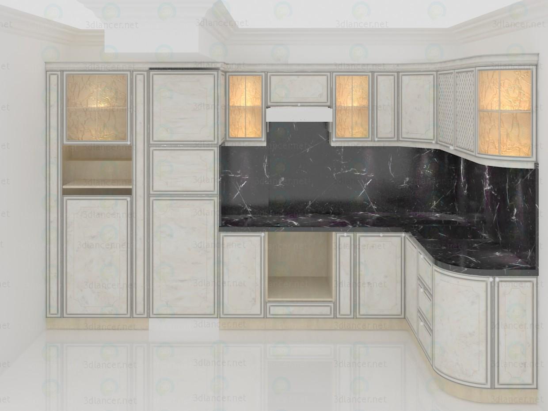 Mármol blanco clásico de la cocina 3D modelo Compro - render