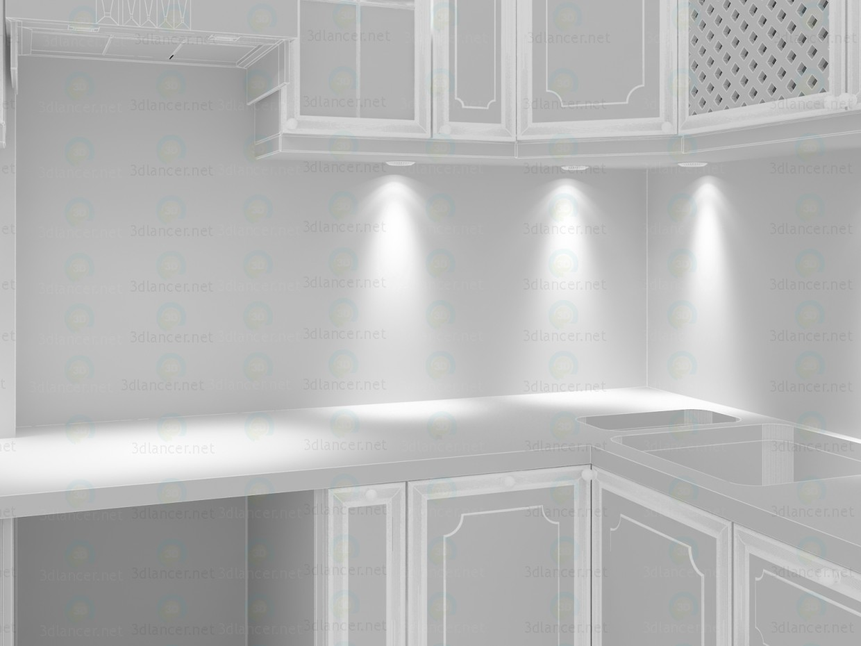 3d Classical white marble kitchen model buy - render