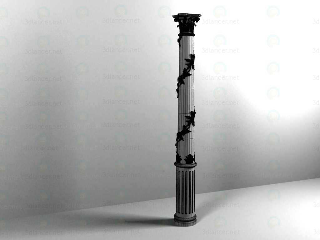 3d Carved gilded column model buy - render