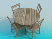 Деревянные стол и стулья в комплекте