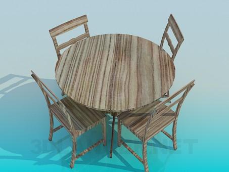 3 डी मॉडल लकड़ी की मेज और कुर्सियों सेट - पूर्वावलोकन