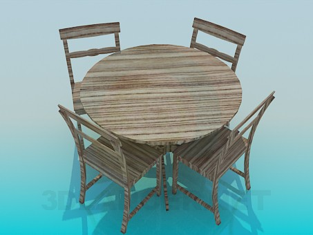 3d model Wooden table and chairs set - preview