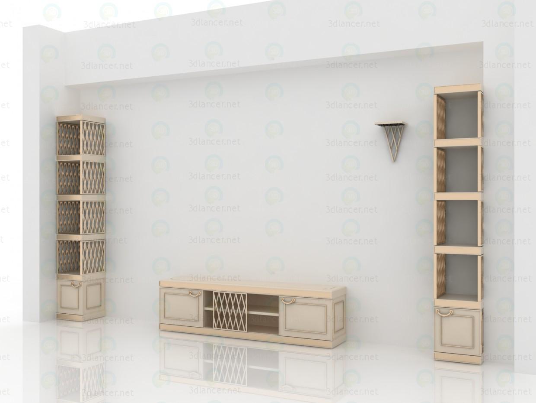 3d Корпусная мебель для классической гостиной модель купить - ракурс