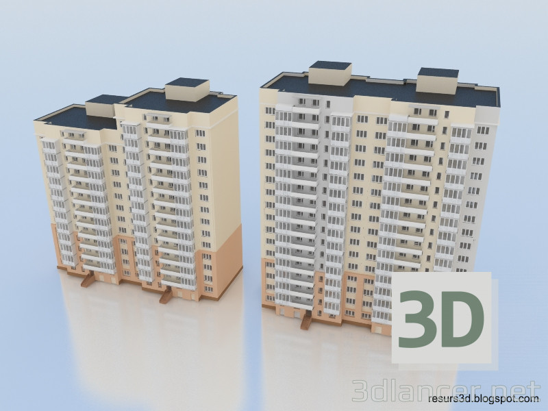 3d model Multi-storey residential building - preview