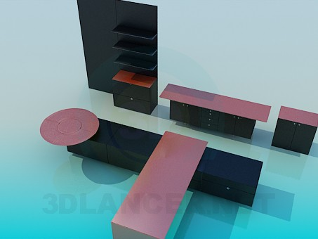 descarga gratuita de 3D modelado modelo Conjunto de muebles de sala de estar
