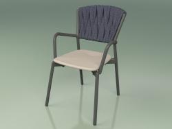 Chair 221 (Metal Smoke, Polyurethane Resin Mole, Padded Belt Gray-Blue)