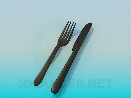 3d model Fork and knife - preview