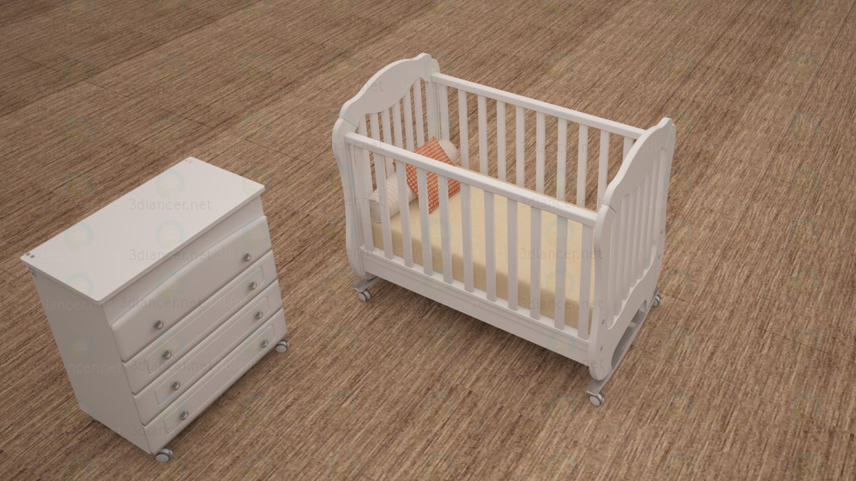 3d Детская кроватка модель купить - ракурс