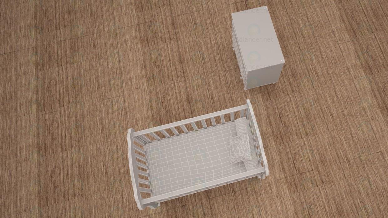 3d Baby cot model buy - render