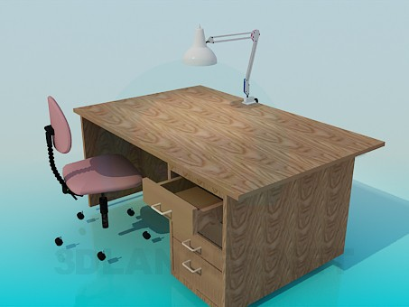 3d modeling Wooden desk model free download
