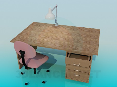 3d модель Деревянный письменный стол – превью