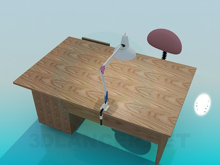modelo 3D Escritorio de madera - escuchar