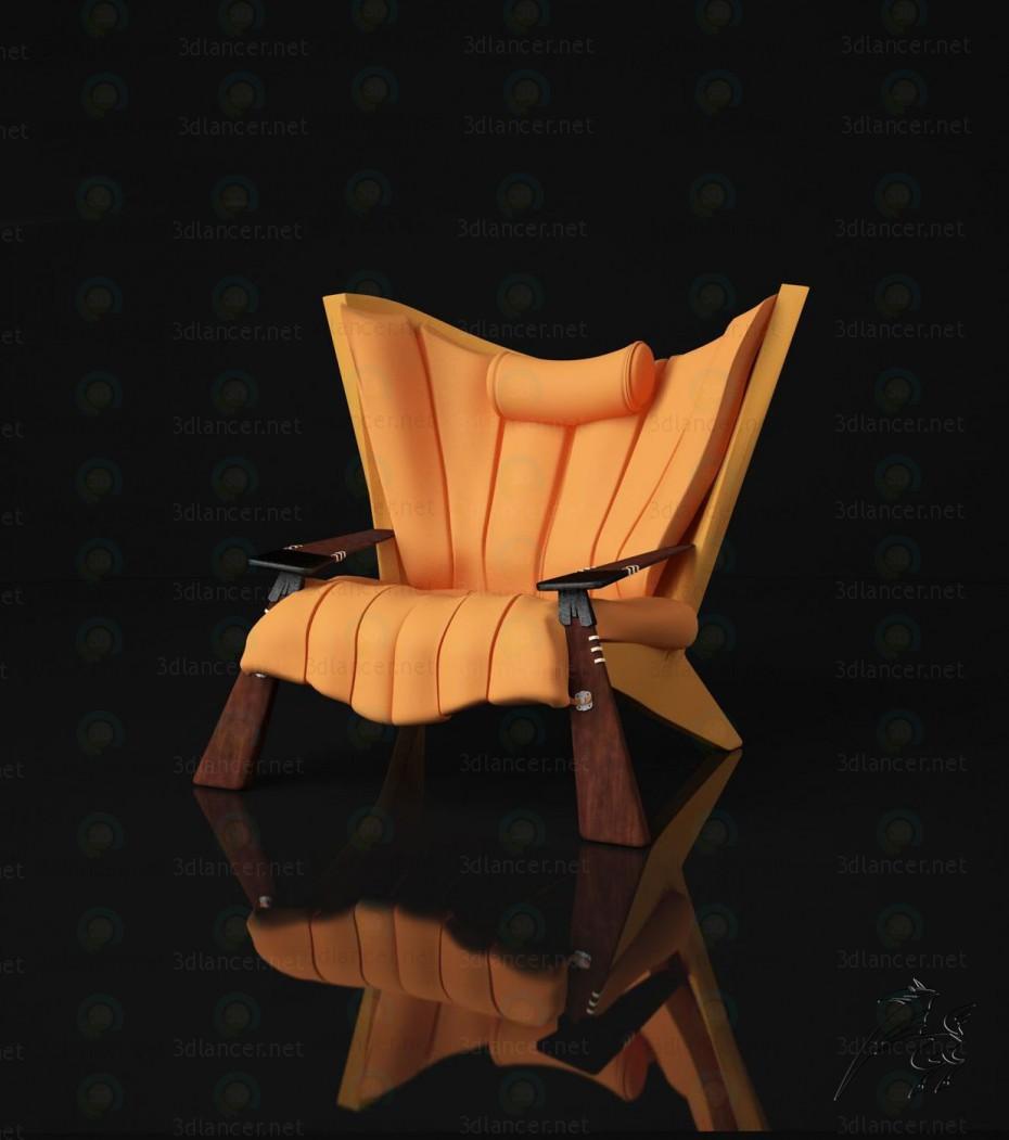 3d модель крісло жовте – превью