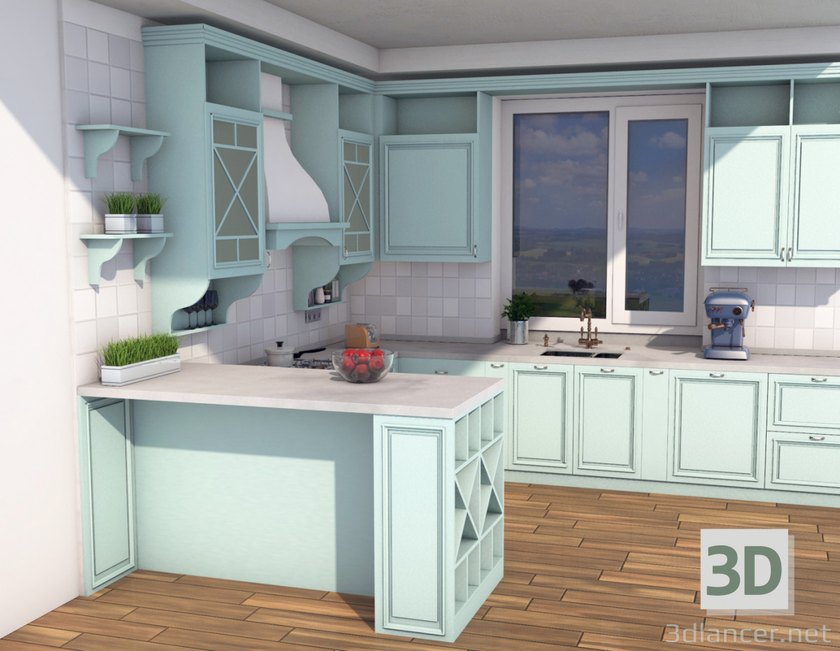 3d model kitchen in the style of classicism download for for Model kitchen images