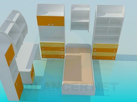 3d modeling Child bedroom furniture model free download