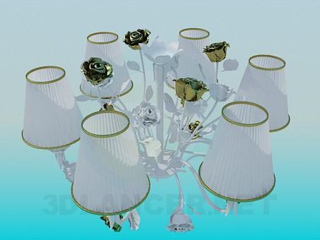 3d моделювання Романтична люстра з трояндами модель завантажити безкоштовно