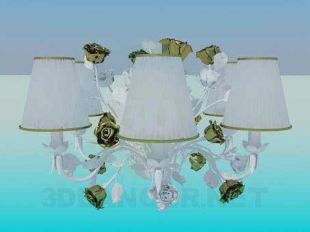 3d model Romantic chandelier with roses - preview