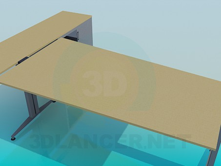 3d model A desk with a cabinet - preview