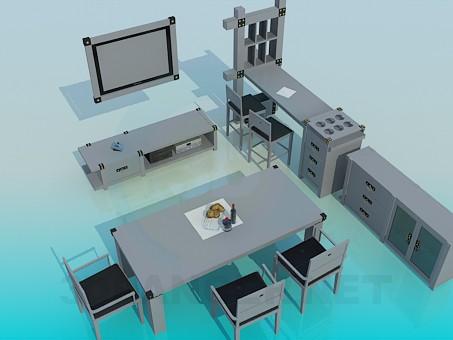 3d модель Мебель для гостинной – превью