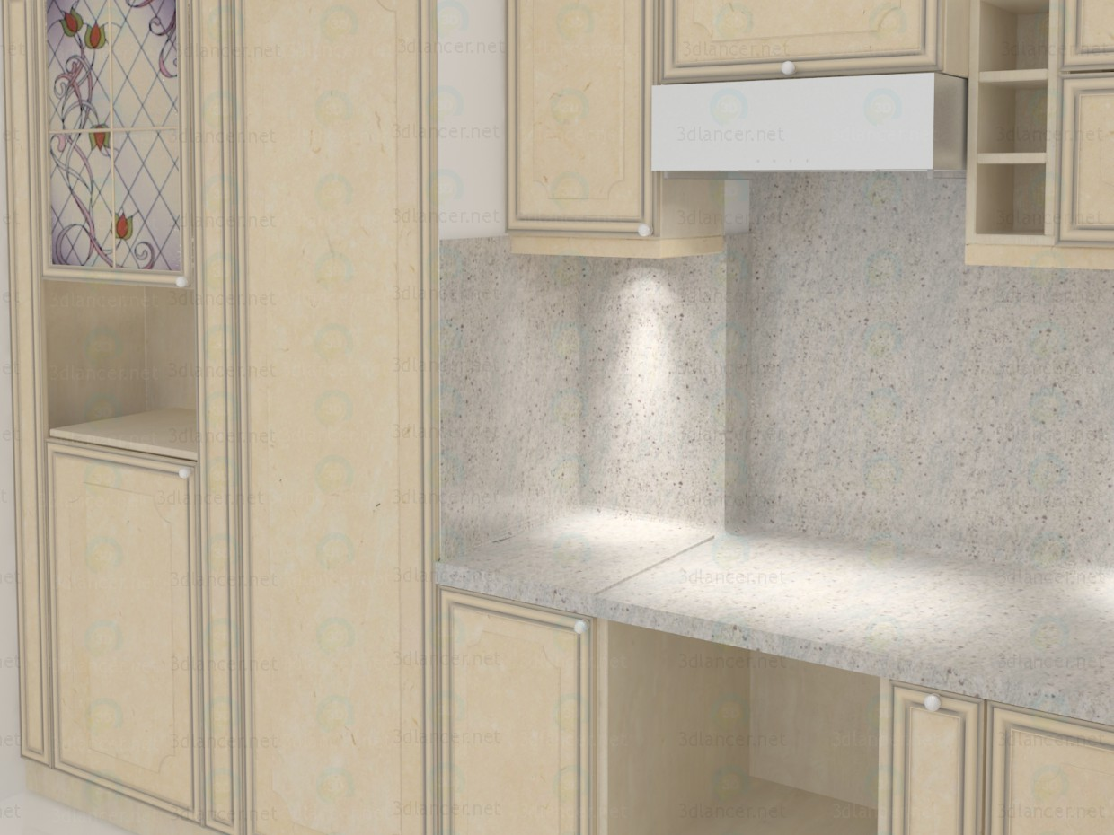 3d Classic kitchen, travertine elevations with granite countertops model buy - render
