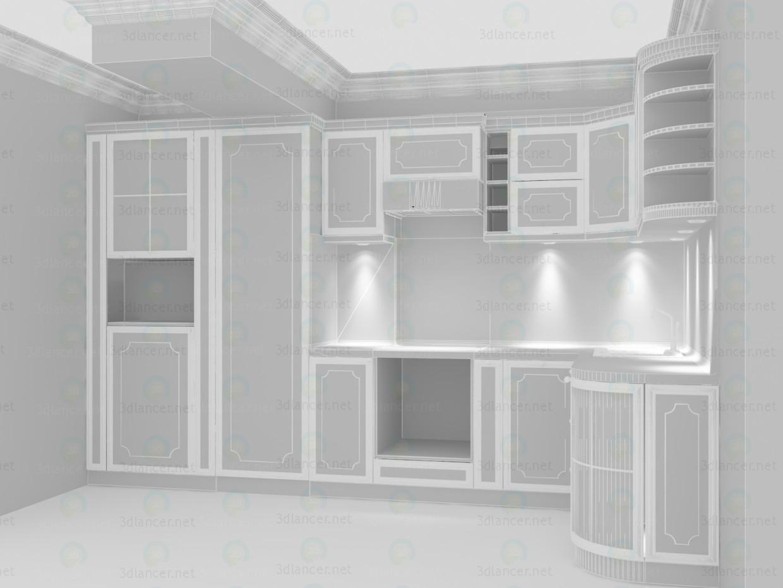 3d Классическая кухня травертиновые фасады с гранитной столешницей модель купить - ракурс