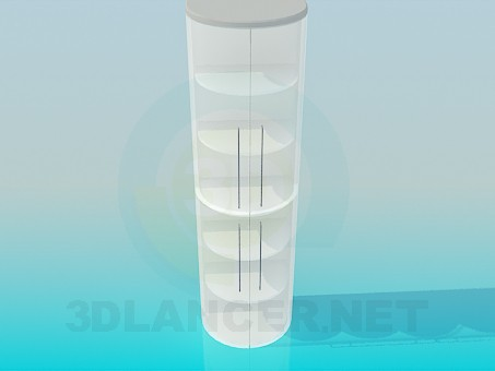 3d model Half-round bookcase with glass door - preview