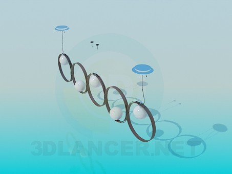 3d model Oblong luminaire with large rings - preview