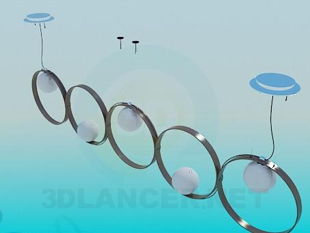 modelo 3D Luminaria rectangular con grandes anillos - escuchar