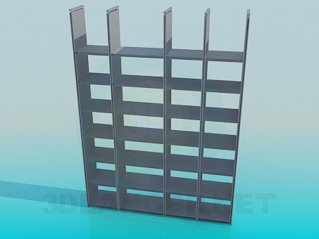 3d model The shelves in the library - preview