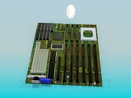 modelo 3D La placa base del ordenador - escuchar