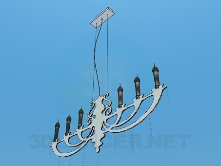 3d model Flat metal chandelier with candles - preview