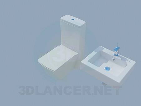 3d модель Прямоугольный унитаз и умывальник – превью