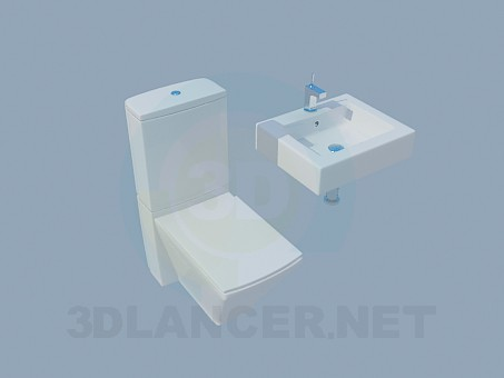 3d model Rectangular toilet and washstand - preview