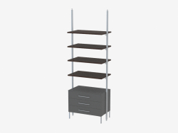 Rack with four solid shelves and three drawers