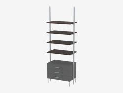Rack avec quatre étagères pleines et trois tiroirs