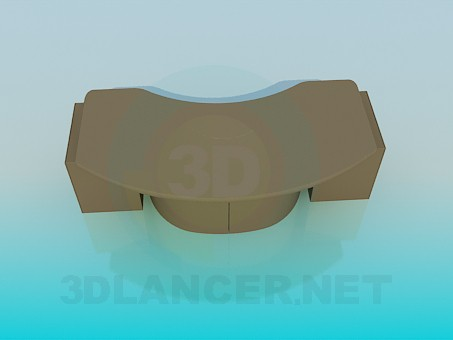3d modeling Desk curved model free download