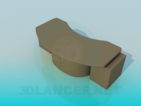 modelo 3D Escritorio curvada - escuchar