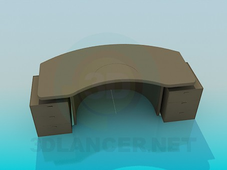 3d model Desk curved - preview