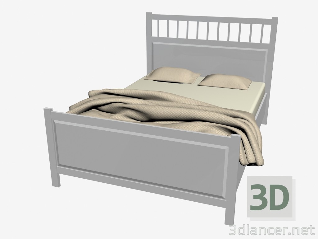 3d Model Double Bed With Mattress Manufacturer Ikea