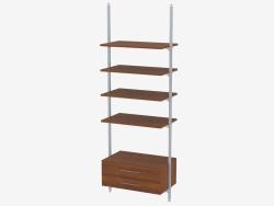 Rack avec quatre étagères et deux tiroirs