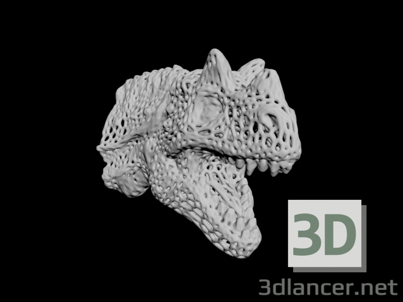 3d Dragon head voronoy model buy - render