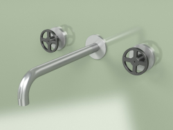 Wall-mounted set of 2 separate mixers with spout (20 11 V, AS-ON)
