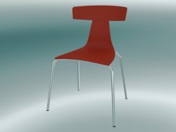 Stackable chair REMO plastic chair (1417-20, plastic coral red, chrome)