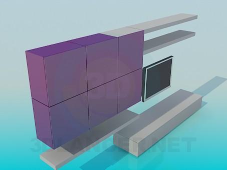 3d модель Стінка-шафа для вітальні – превью