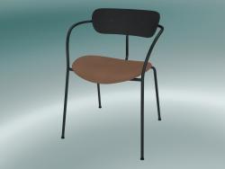 Chair Pavilion (AV4, H 76cm, 52x56cm, Black lacquered oak, Leather - Cognac Silk)