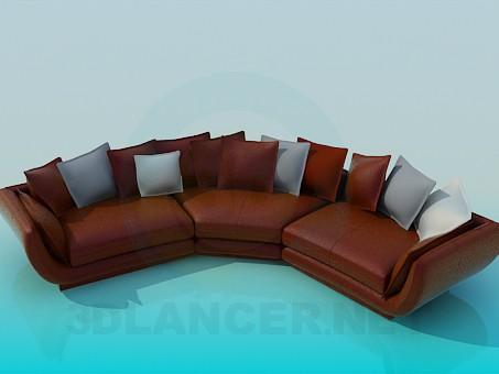 3d моделирование Полукруглый диван с подушками модель скачать бесплатно